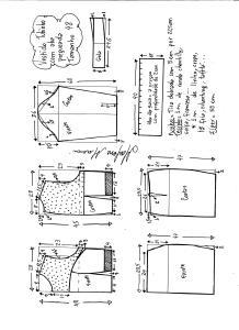 Esquema de modelagem de vestido tubinho com aba pregueada e detalhe em renda tamanho 48.