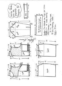 Esquema de modelagem de vestido tubinho com aba pregueada e detalhe em renda tamanho 52.