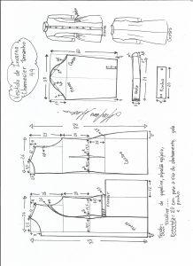 Esquema de modelagem de vestido inverno chamesier tamanho 44.
