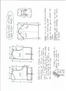 Esquema de modelagem de vestido de inverno com recorte abaixo do busto tamanho 48.