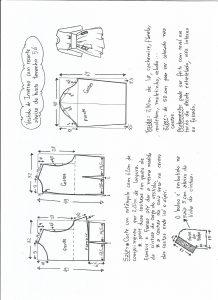 Esquema de modelagem de vestido de inverno com recorte abaixo do busto tamanho 56.