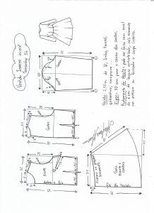 Esquema de modelagem de vestido de inverno com saia rodada tamanho 56.