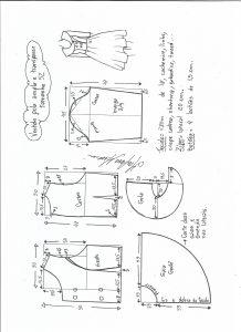 Esquema de modelagem de vestido gola ampla tamanho 52.