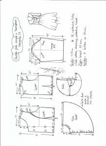 Esquema de modelagem de vestido gola ampla tamanho 54.