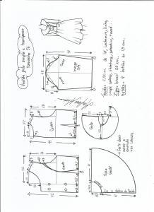 Esquema de modelagem de vestido gola ampla tamanho 56.