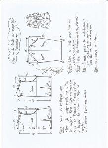 Esquema de modelagem de vestido meia estação de renda e manga 3/4 tamanho 40.