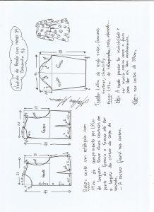 Esquema de modelagem de vestido meia estação de renda e manga 3/4 tamanho 46.