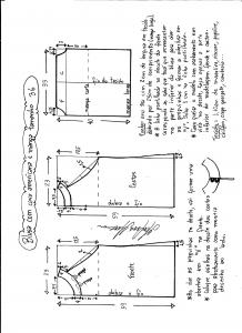 Esquema de modelagem de blusa com cava americana e manga tamanho 36.