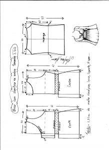 Esquema de modelagem de blusa com abertura no ombro para malha tamanho EGG.