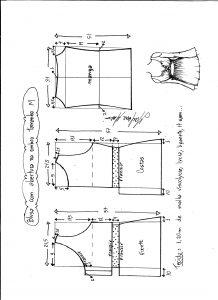 Esquema de modelagem de blusa com abertura no ombro para malha tamanho M.