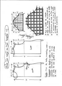 Esquema de modelagem de blusa com manga em tiras tamanho 52.