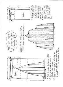 Esquema de modelagem de saia com recorte vertical e pregas tamanho 56.
