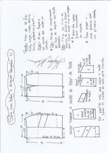 Esquema de modelagem de saia com bolsos e debrum tamanho 46.