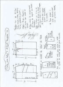 Esquema de modelagem de saia com bolsos e debrum tamanho 56.