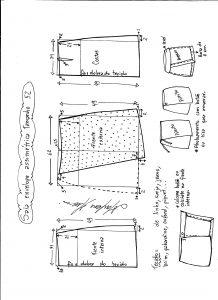 Esquema de modelagem de saia envelope assimétrica tamanho 52.