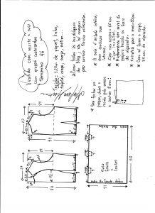 Esquema de modelagem de vestido com recorte e pregas costuradas tamanho 46.