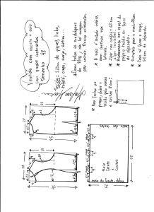 Esquema de modelagem de vestido com recorte e pregas costuradas tamanho 48.