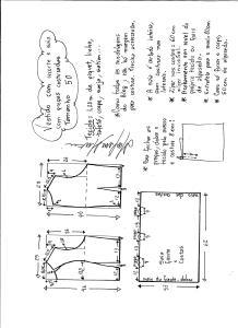 Esquema de modelagem de vestido com recorte e pregas costuradas tamanho 50.