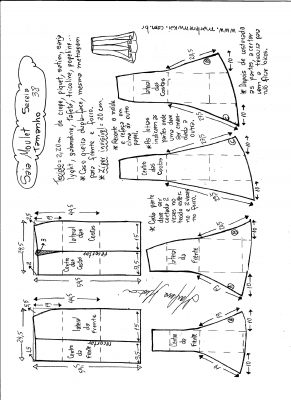 Esquema de modelagem de saia mulet sereia tamanho 38.