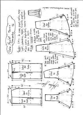Esquema de modelagem de saia mulet sereia tamanho 46.