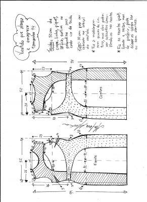 Esquema de modelagem de vestido que alonga e afina a silhueta tamanho 44.