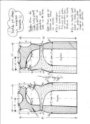 Esquema de modelagem de vestido que alonga e afina a silhueta tamanho 56.