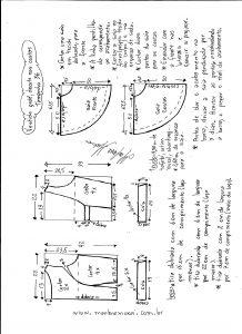 Esquema de modelagem de vestido godê com decote nas costas tamanho 36.
