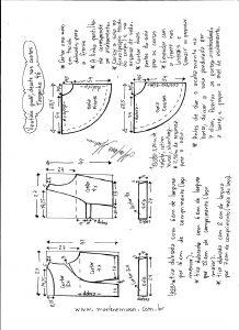 Esquema de modelagem de vestido godê com decote nas costas tamanho 46.