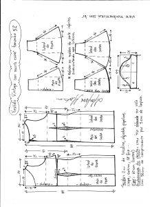 Esquema de modelagem de vestido víntage evasê com recorte tamanho 52.
