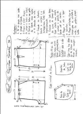 Esquema de modelagem de short com pregas tamanho 36.
