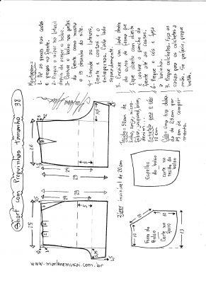 Esquema de modelagem de short com pregas tamanho 38.