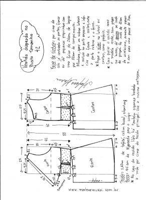 Esquema de modelagem de vestido drapeado com pregas tamanho 42.