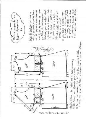 Esquema de modelagem de vestido drapeado com pregas tamanho 44.