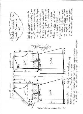 Esquema de modelagem de vestido drapeado com pregas tamanho 46.