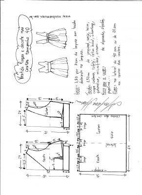 Esquema de modelagem de vestido com pregas e decote nas costas tamanho 40.