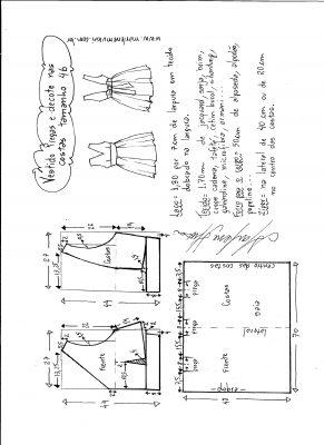 Esquema de modelagem de vestido com pregas e decote nas costas tamanho 46.