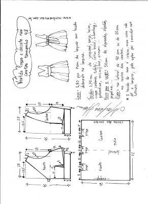 Esquema de modelagem de vestido com pregas e decote nas costas tamanho 48.