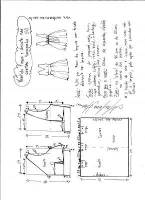 Esquema de modelagem de vestido com pregas e decote nas costas tamanho 50.