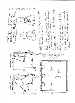 Esquema de modelagem de vestido com pregas e decote nas costas tamanho 56.