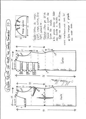 Esquema de modelagem de vestido tubinho com decote nas costas e manga copinho tamanho 50.