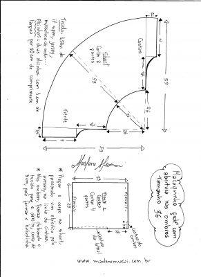 Esquema de montagem do macaquinho godê tamanho 36