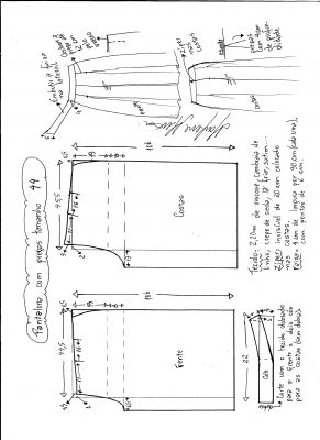 Esquema de modelagem de pantalona com pregas tamanho 44.