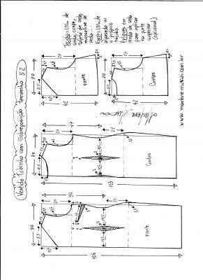 Esquema de modelagem de vestido de festa tubinho com sobreposição tamanho 52.