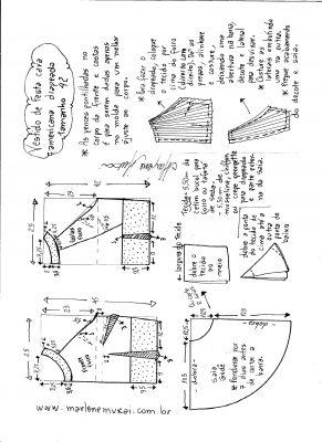 Esquema de modelagem de Vestido de festa cava americana tamanho 42.