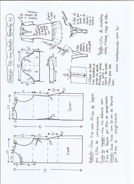 Esquema de modelagem de vestido pólo com babado na barra tamanho 44.