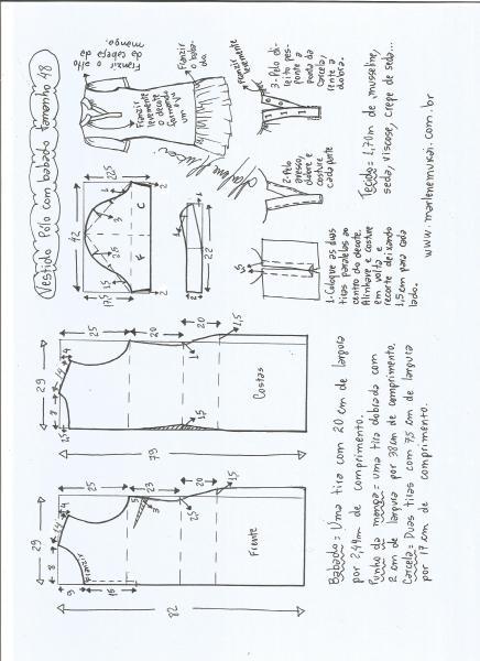 Esquema de modelagem de vestido pólo com babado na barra tamanho 48.