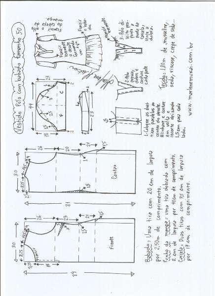Esquema de modelagem de vestido pólo com babado na barra tamanho 50.