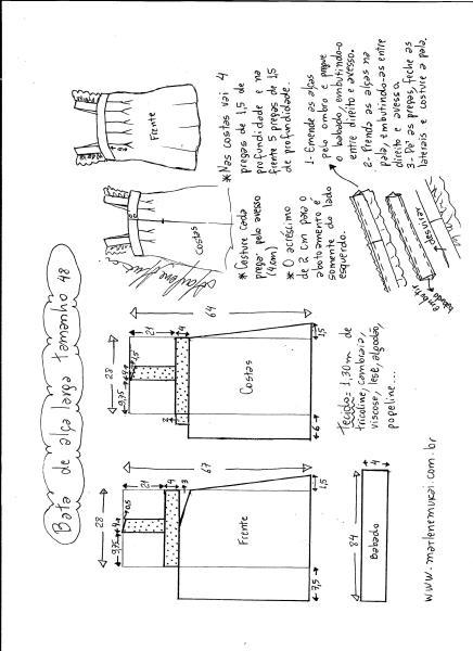 Esquema de modelagem de bata com alça larga e babado tamanho 48.