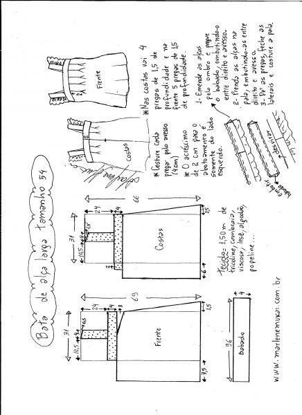 Esquema de modelagem de bata com alça larga e babado tamanho 54.