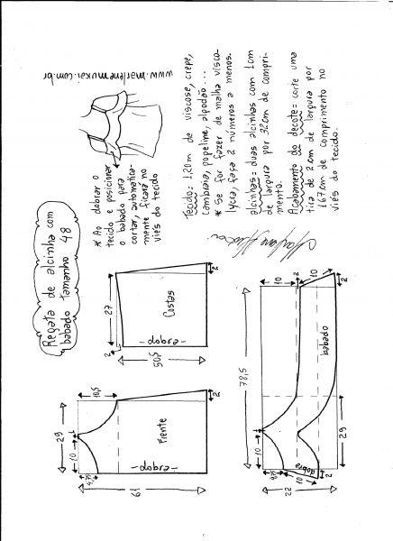 Esquema de modelagem de regata de alcinha com babado tamanho 48.